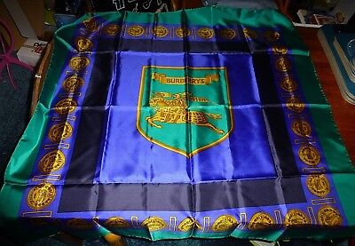 Vintage Burberrys Heraldic Print Silk Hand Rolled Scarf Vintage 34 x 34 inches