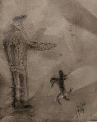 Original signed drawing. After L S Lowry