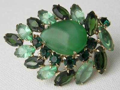 Gorgeous Vintage Goldtone Green Glass Cabochons Leaf Brooch Pin