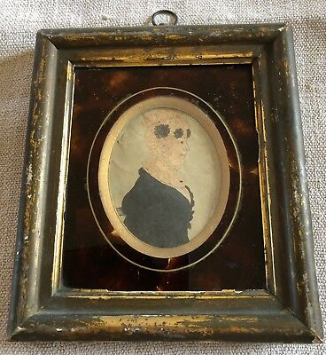 Antique Early 19C Framed Miniature Portrait Of A Lady
