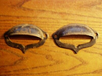 PAIR Antique Eastlake Vintage Originial 4 Inch Cast Iron Cup Pull
