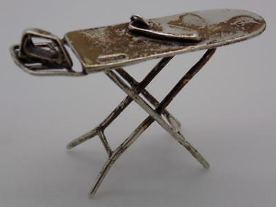 Vintage Solid Silver Italian Made RARE Iron Board Miniature, Figurine, Stamped