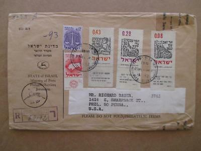 1962 Israel To USA Registered Philatelic Cover With Tabs (XX51)