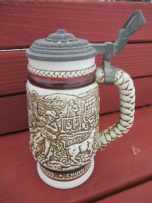 1980 Avon Western Lidded STEIN with Chuck Wagon, Cattle Drive, and Stage Coach