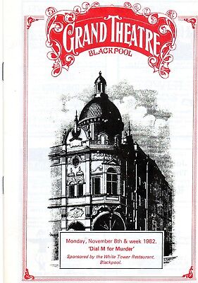 Blackpool Grand Theatre 1982 'dial M For Murder' Simon Ward Programme.