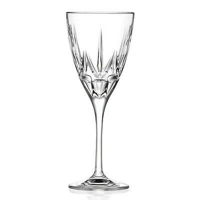 Chic Set Of 6 White Wine Lead Free Crystal Goblets Made In Italy