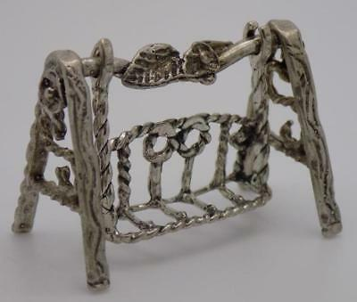 Vintage Solid Silver Italian Made Porch Swing Miniature, Figurine, Stamped