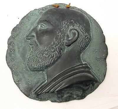 Vtg Greek Pottery Wall Cameo Hippocrates Innokpaths Greece Hand Made Wall Cameo
