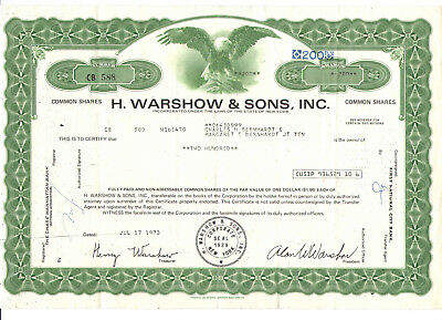 1973 H. Warshow & Sons, 200 Shares