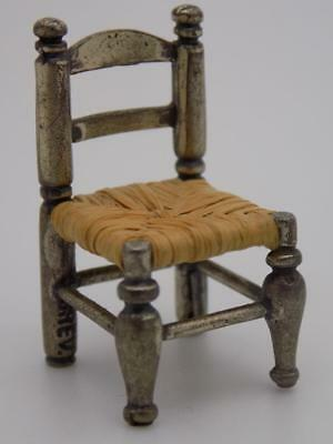 Vintage Solid Silver Italian Made Dollhouse Country Chair Miniature, Stamped