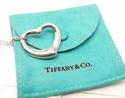 Auth Tiffany & Co Elsa Peretti Sterling Silver Large Open Heart Necklace Pendant