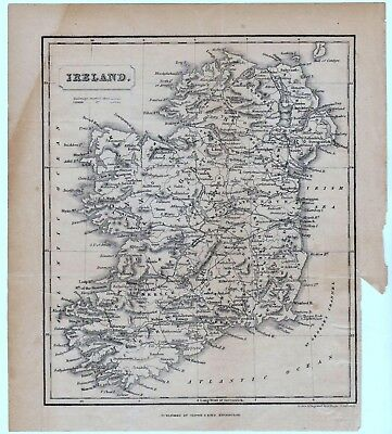 antique map of Ireland circa 1840 Oliver & Boyd publ. Engraved A. Wright.