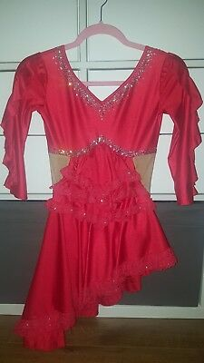 Red competition ice skating dress for figure or ice dance Tango or Spanish music