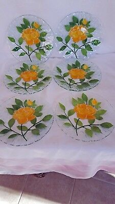 Set of 6 Sydenstricker Yellow Rose 8 1/2 Inches in Diameter