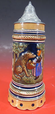 Antique Marzi & Remy RED RIDING HOOD German Stoneware Lidded Beer Stein #7 yqz
