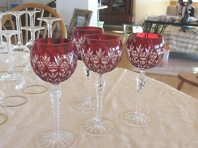 "Ajka Florderis Cased Cut To Clear Crystal Wine Glass Hocks 7¾"" red"