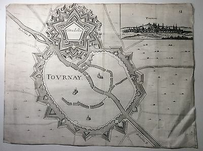Original 17th 18th Century Map or Plan of The Fortified City of Tovrnay Tournay.