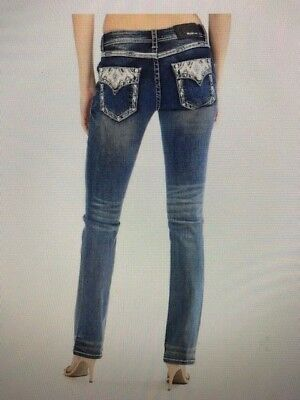 Womens GRACE IN LA Bootcut Jeans Embroidered Yoke /& Flap Pockets with Crystals!