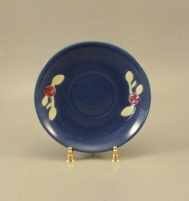 Pair Of Coors Rosebud Pottery Saucers, In Blue.