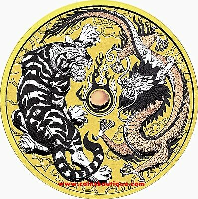 TIGER and DRAGON 1 oz 9999 silver coin quartet metal Australia 2018