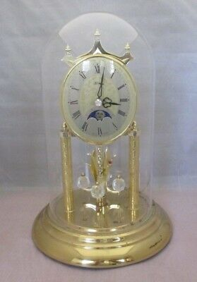 "HERMLE Moon Phase Anniversary Clock Glass Globe Made In W Germany 12"" Tall"