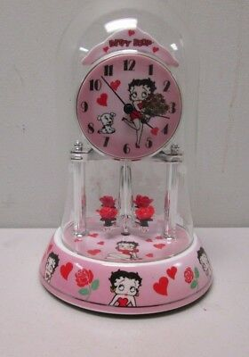 Betty Boop Anniversary Clock w/ Red hearts & roses,  glass dome porcelain