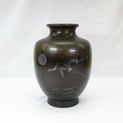 H614: Japanese old copper flower vase with good silver inlay of tasteful design