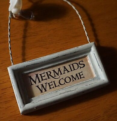 Mermaids Welcome Mini Sign Ornament Coastal Beach Wood Home Decor with Shell NEW