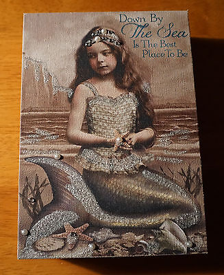 Vintage Victorian Style Mermaid Sign Pearl Jeweled Starfish Coastal Beach Decor