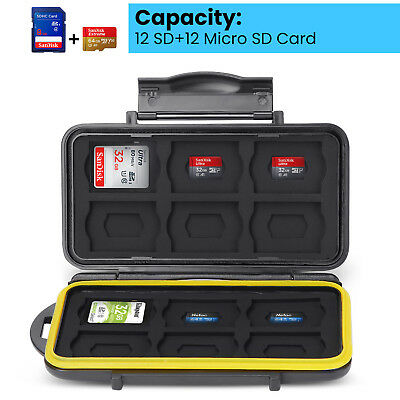 Memory Card Case Holder Waterproof Storage Box Fits 12 SD+12 Micro SD TF Cards