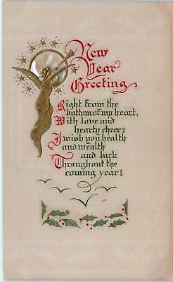 Beautiful  Arts & Crafts Style  NEW YEAR GREETING  Gold ANGEL   1911   Postcard
