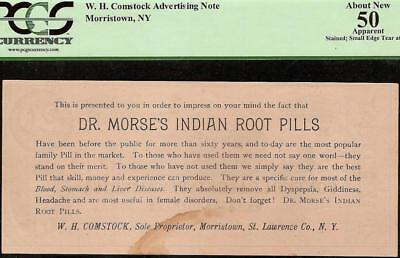 1864 $20 Dr. Morse's Indian Root Pills W.h Comstock Advertising Note Pcgs 50