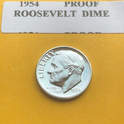"1954 Proof Roosevelt Gem Bu.Silver Dime. ""With Mint Luster"""