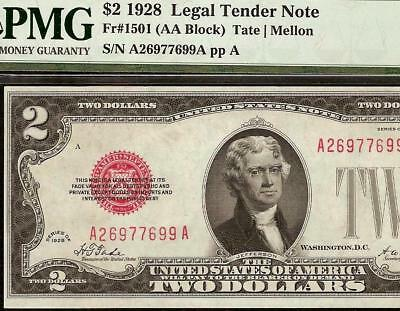 1928 $2 Two Dollar Bill United States Legal Tender Red Seal Note 1501 Pmg 58 Epq