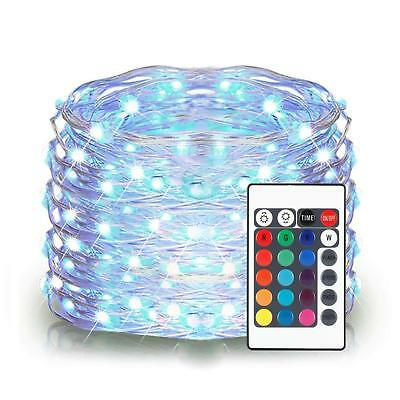 16color 10M Copper Wire LED String Fairy Light Strip Waterproof W/ 24 Key Remote