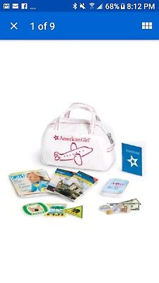 AMERICAN GIRL DOLL TRAVEL 18 pc. Set~Flight Bag Book & Accessories NEW Retired