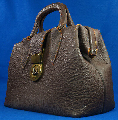 Vintage Doctor's Bag Textured Leather with 3 Position Brass Crest USA Lock