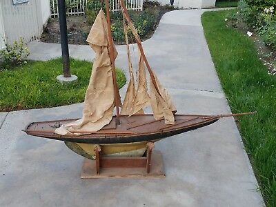 1930s 5foot Antique Vtg Model Wooden Pond Boat Pond Yacht Schooner Ship Sailboat