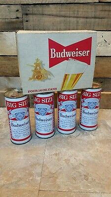 1950's 4 Pack 16 oz Budweiser Beer Can King Size Half Quart Flat Top Pa Tax