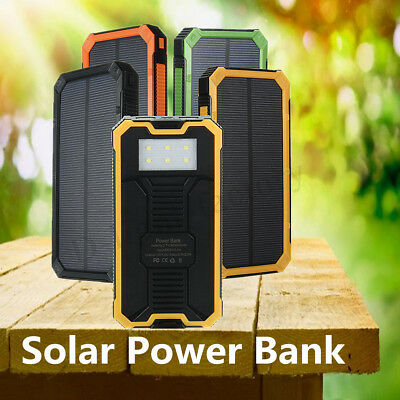 300000mAh Portable Waterproof Solar Power Bank Dual USB Battery Phone Charger