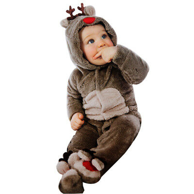 Newborn Baby Clothes Girl Boy Deer Romper Winter Warm Jumpsuit Outwear Outfits