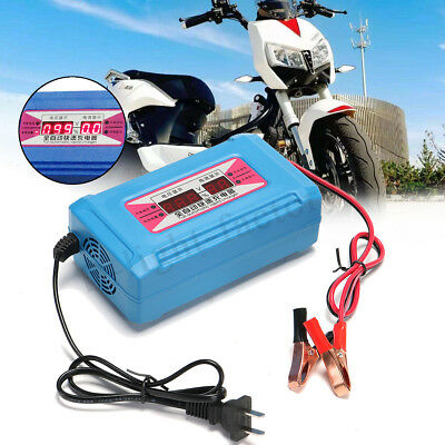 12V 16A Automatic LCD Digital Car Motorcycle Smart Fast Battery Charger +UK