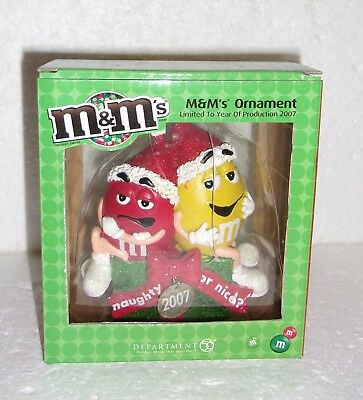 2007 M&M's / Dept 56 Christmas Ornament - Red & Yellow M&M's Characters