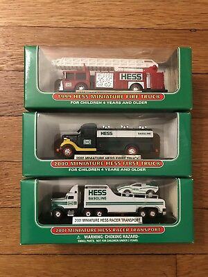 3 Hess Mini Toy Vehicles - 1999 Fire Engine 2000 Truck 2001 Racer - Mint In Box