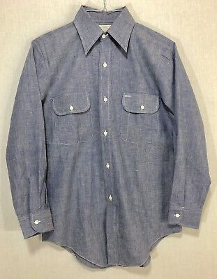 Big Mac J C Penney blue chambray work shirt sz S 14 - 14 1/2 vintage deadstock