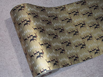 Vtg 1950 Atomic Era Store Christmas Wrapping Paper Gift Wrap 2 Yards Gold Deer