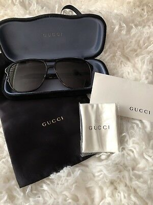 4371f4ecc72 AUTHENTIC NEW GUCCI GG0287S 003 Havana Gold Square Sunglasses Brown ...
