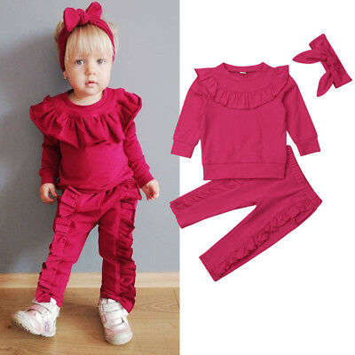 3PCS Toddler Kids Baby Girls Ruffle Tops Pants Winter Outfits Clothes Age 1-6Y