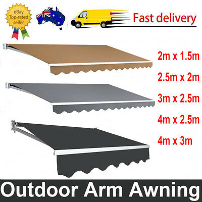 Outdoor Folding Arm Awning Retractable Sunshade Canopy Adjustable UV-resistant