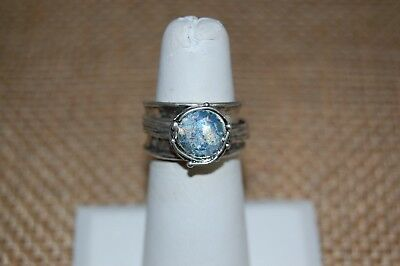 45b5e84951e66 OR PAZ .925 Sterling Silver Roman Glass & Silver Spinner Ring, Made in  Israel
